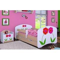 Detská posteľ so zásuvkou 160x80cm KVETINKY