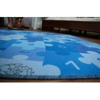 Detský koberec PUZZLE modrý