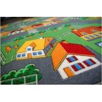 Detský guľatý koberec dedinkami SOFT