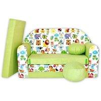 Detská pohovka Veselá zvieratká - zelená