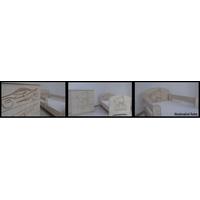 Detský nočný stolík s výrezom PSÍK - prírodná