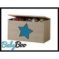 Detská truhla na hračky s výrezom ŽIRAFA - modrá