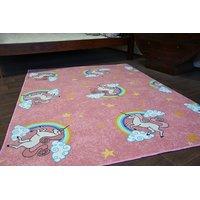 Detský koberec Jednorožec s dúhou - ružový