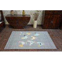 Detský kusový koberec Kuriatko - sivý