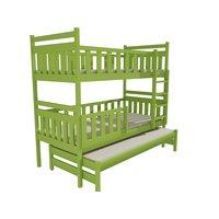 Skladom: Detská poschodová posteľ s prístelkou z MASÍVU 200x80cm so zásuvkou - PPV008 - zelená