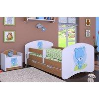 SKLADOM: Detská posteľ so zásuvkou 160x80cm MODRÝ MACKO - buk