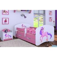 SKLADOM: Detská posteľ so zásuvkou 180x90cm Jednorožec - oranžovo / bílá