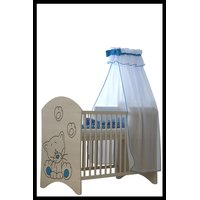 SKLADOM: Detská postieľka s výrezom MAČIČKA - modrá 120x60 cm + matrac kokos / molitan