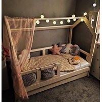SKLADOM: Detská posteľ z masívu so zásuvkou DOMČEK BEDHOUSE 160x80 cm