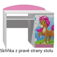 SKLADOM: Písací stôl PONÍK s ružovou hrivou - TYP A - ružovo / biely