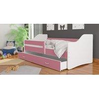 SKLADOM: Detská posteľ so zásuvkou SWEET - 140x80 cm - ružovo-biela