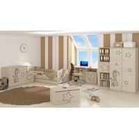 SKLADOM: Detská posteľ s výrezom ŽIRAFA - nórska borovica - prírodná 140x70 cm + matrac