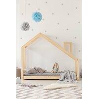 SKLADOM: Detská posteľ z masívu DOMČEK s komínom 180x90 cm + zábrany