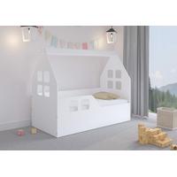 Detská Domčekové posteľ KIDHOUSE - biela - ľavá - 140x70 cm + matrac