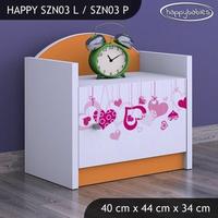 SKLADOM: Detský nočný stolík FALL IN LOVE - TYP 3 - ružová