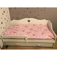 Detská srdiečková posteľ Juliette sa zásuvkou 160x80 cm - biela + MATRACE