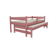 SKLADOM: Detská posteľ s výsuvnou prístelkou z MASÍVU 200x90cm so zásuvkou - DPV017 - šedá