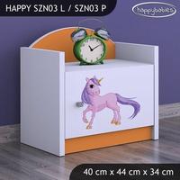 SKLADOM: Detský nočný stolík Jednorožec - TYP 3 - ružový