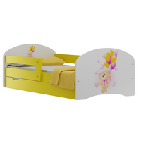 SKLADOM: Detská posteľ so zásuvkami MACKO A MOTÝLCI 160x80 cm - bielo / žltá