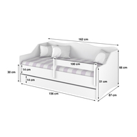SKLADOM: Detská posteľ s prístelkou Lully 160x80cm - nórska borovice II. + Zábrana k posteli