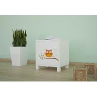 SKLADOM: Detský nočný stolík FAREBNÉ sovičky - TYP 3 - biely - otváranie vľavo