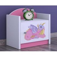 SKLADOM: Detský nočný stolík DRAK - TYP 3 - ružová, orientácia dvierok pravá
