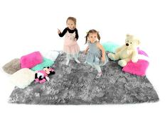Detský plyšový koberec ŠEDÝ