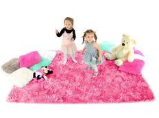 Plyšový detský koberec TMAVO-RUŽOVÝ