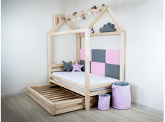 Detská dizajnová posteľ z masívu 160x80 cm DOMČEK 1 so zásuvkami