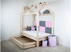 Detská dizajnová posteľ z masívu DOMČEK 1 so zásuvkami