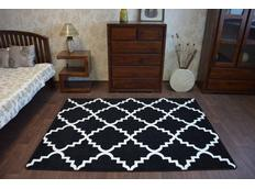 Moderné koberec čierno-biely F343