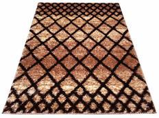 Kusový koberec SHAGGY TOP - mriežka - cappuccino