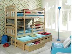 Detská poschodová posteľ s výsuvnou prístelkou z MASÍVU so zásuvkami - PV006