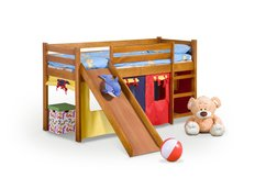 Vyvýšená detská posteľ z masívu so šmýkačkou 190x80cm - NELA 2 + matrace ZADARMO!
