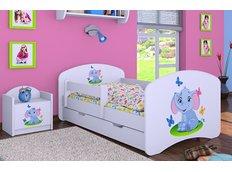 Detská posteľ so zásuvkou 160x80cm SLON A MOTÝLCI