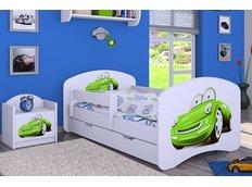 Detská posteľ so zásuvkou 160x80cm ZELENÉ AUTO