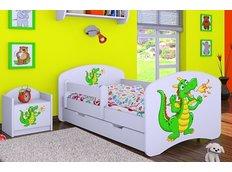 Detská posteľ so zásuvkou 160x80cm ZELENÝ DRAK