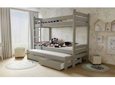 Detská poschodová posteľ s výsuvnou prístelkou z MASÍVU so zásuvkami - PPV007 - šedá