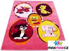 Detský koberec ZVIERATKÁ pink