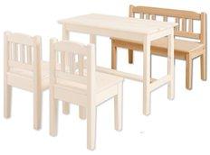 Detská drevená jedálenské lavice z masívu borovice