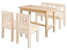 Detský drevený jedálenský stolík z masívu borovice