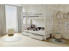 Detská poschodová posteľ z MASÍVU 200x90cm so zásuvkami - M07 biela