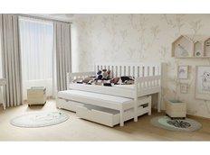 Detská posteľ s výsuvnou prístelkou z MASÍVU 200x90cm so zásuvkou - M06 biela