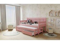 Detská posteľ s výsuvnou prístelkou z MASÍVU 180x80cm so zásuvkou - M06 ružová