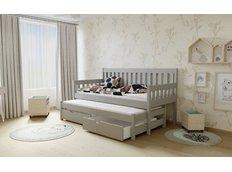Detská posteľ s výsuvnou prístelkou z MASÍVU 200x90cm bez šuplíku - M06 šedá