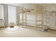 Vyvýšená detská posteľ z MASÍVU 180x80cm - M05 bezfarebný lak
