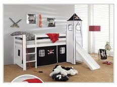 Detská vyvýšená posteľ so šmýkačkou PIRÁTI bieločiernej - BIELA