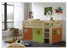 Detská vyvýšená posteľ DOMČEK zelenooranžovom - PRÍRODNÉ