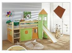Detská vyvýšená posteľ so šmýkačkou DOMČEK zelenooranžovom - PRÍRODNÉ
