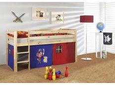Detská vyvýšená posteľ PIRÁTI modročervený - PRÍRODNÉ